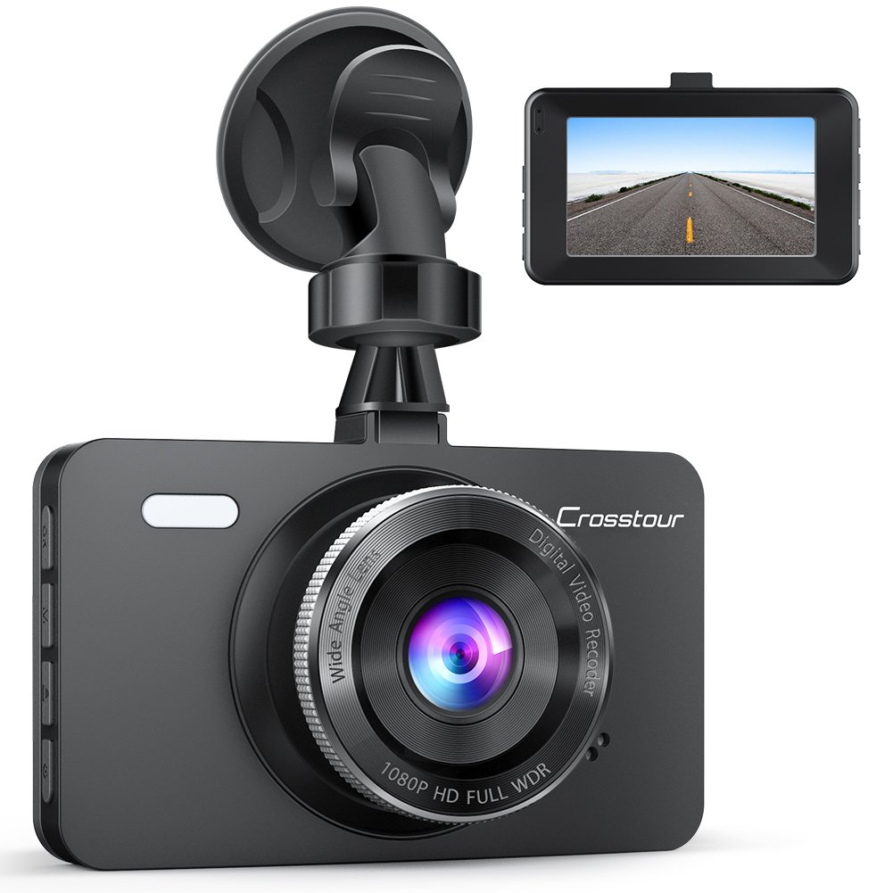 Dash Cam, Crosstour 1080P Car DVR Dashboard Camera Full HD with 3'' LCD Screen 170°Wide Angle, WDR, G-Sensor, Loop Recording and Motion Detection (CR300)
