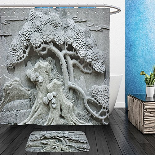 Vanfan Bathroom 2?Suits 1 Shower Curtains & ?1 Floor Mats Chinese Feng Shui pine tree carving_104091580 From Bath room (Superman Pumpkin Carving)