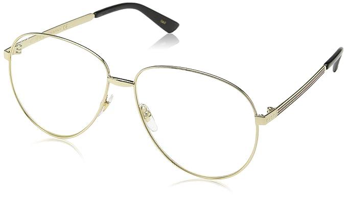 Gucci GG0138S 003, Montures de Lunettes Mixte Adulte, Or  (Gold Transparent), 61  Amazon.fr  Vêtements et accessoires 549e55f8db55