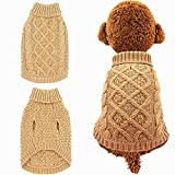 Mihachi Dog Sweater - Winter Coat Apparel Classic Cable Knit Clothes Cold Winter,Beige,S