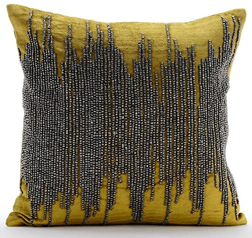 Handmade Chartreuse Pillows Cover, Gunmetal Beaded Pillows Cover, 20