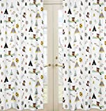 Sweet Jojo Designs 2-Piece Nature Fox Bear Animals Boys Window Treatment Panels for Outdoor Adventure Panels