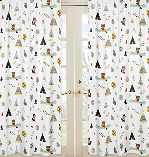 Sweet Jojo Designs 2-Piece Nature Fox Bear Animals Boys Window Treatment Panels for Outdoor Adventure Panels by Sweet Jojo Designs