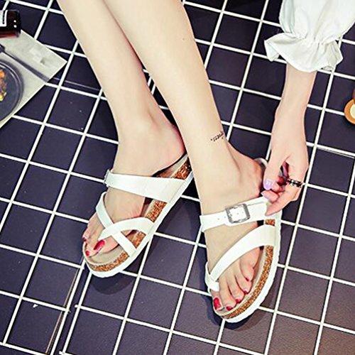 ZKOO Sandalia Chanclas Mujeres Multicolor Impresión Sandalias Corcho Vendaje Punta Abierta Chanclas Zapatillas de Verano Playa Blanco