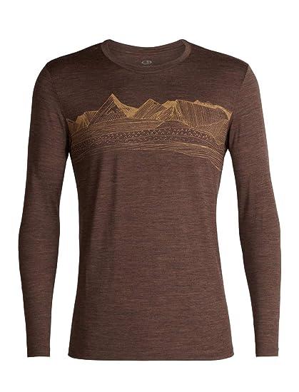 8a7db7035f Icebreaker Merino Men's Tech Lite Long Sleeve Crewe Pyrenees Athletic T  Shirts, Small, Bronze