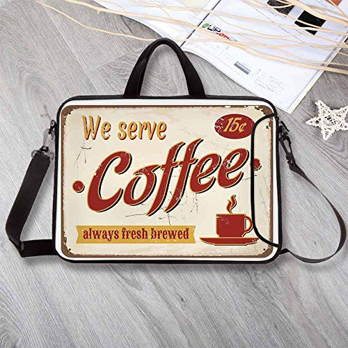 1950s Decor Wear-Resisting Neoprene Laptop Bag,Retro Style Tin Rusty Faded Fresh Brewed Coffee Print from Old Days Fifties Art Work Laptop Bag for Laptop Tablet PC,8.7