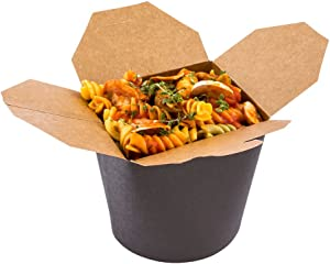 Bio Tek 26 Ounce Chinese Take Out Boxes, 200 Round Food To Go Boxes - Leak And Grease-Resistant, Tab-Lock, Black Paper Take Home Boxes, Stackable, Recyclable - Restaurantware