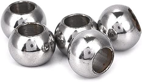 6MM//8MM Silver Stainless Steel Round Big Hole Beads DIY Jewelry Accessories