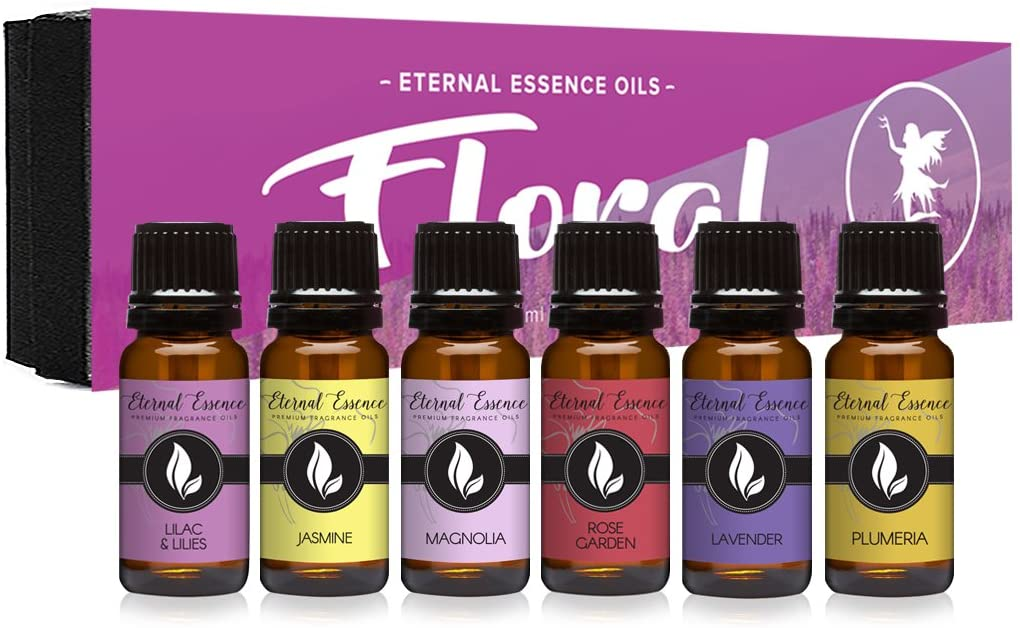 Floral Gift Set of 6/10ml Premium Grade Fragrance Oils - Lavender, Lilac Lillies, Jasmine, Plumeria, Rose Garden, Magnolia - Scented Oil: Kitchen & Dining