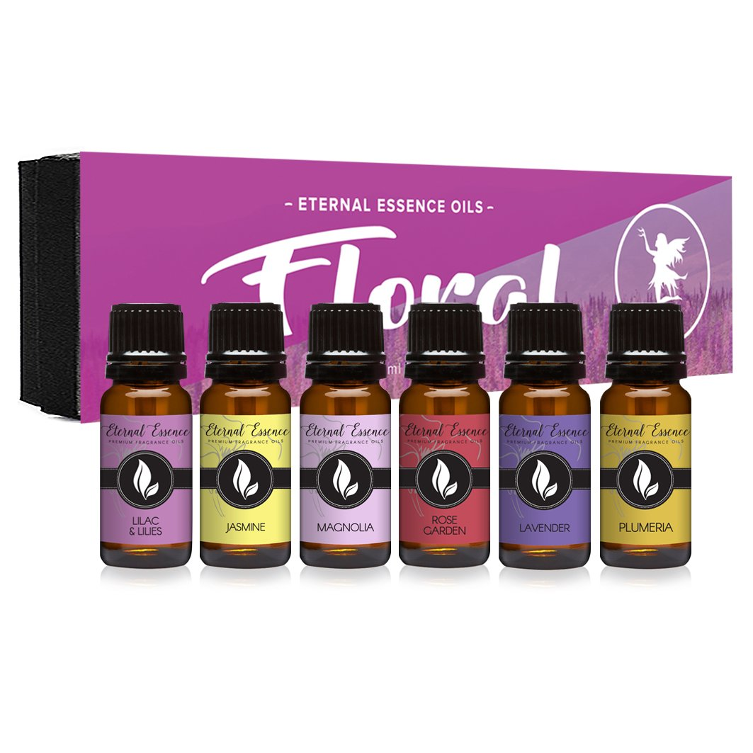 Floral Gift Set of 6/10ml Premium Grade Fragrance Oils - Lavender, Lilac Lillies, Jasmine, Plumeria, Rose Garden, Magnolia - Scented Oil