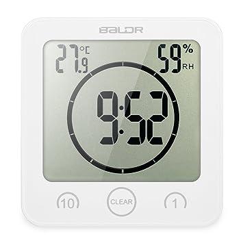 Decdeal - Multiusos Reloj Digital Impermeable para Cocina y Baño con Pantalla Grande/Temporizador / Temperatura/Humedad: Amazon.es: Hogar