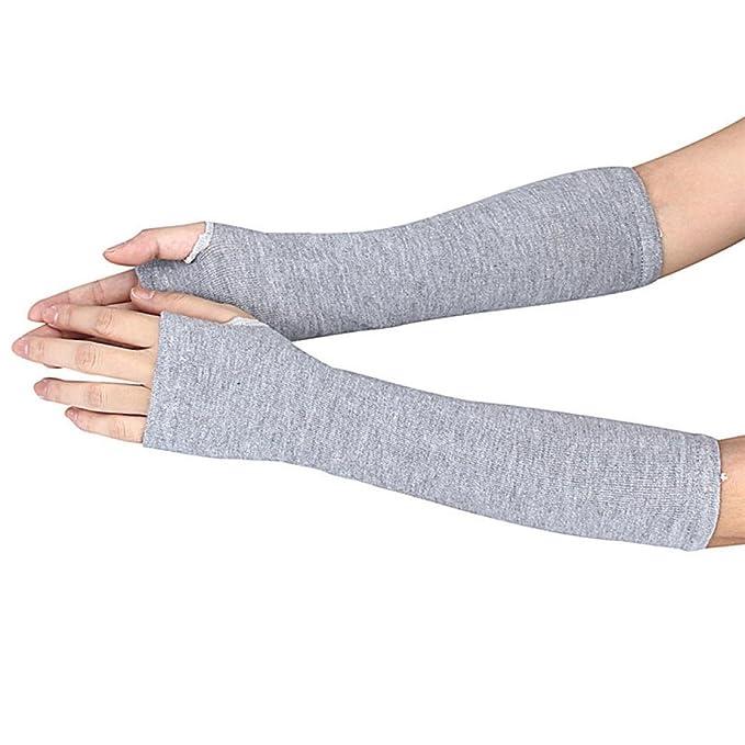 315f6fcdd736d7 SHOBDW Frauen Lange Baumwollhandschuhe Winter Handgelenk Arm Handwärmer  gestrickte Lange Fingerlose Handschuhe Handschuh (Grau)