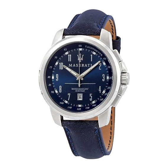 Reloj Maserati R8851121003 Hombre Azul Piel Taquímetro: Amazon.es: Relojes