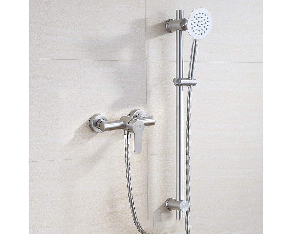 Modern Chrome Shower Head Kit 304 Stainless Steel Hand Shower with Lifting Rod for Bath Tap