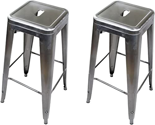 GIA 30-Inch Backless Metal Stool, Gunmetal, 2-Pack
