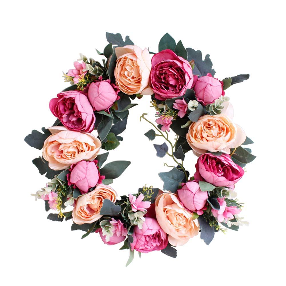 Evoio 造花リース 16インチ 模造牡丹の花輪 シルクフラワー 手作り 天然ラタンドア クリスマスリース フロントドア ホーム ウェディング 感謝祭 母の日 B07R2CMY44 Champagne Rose-red