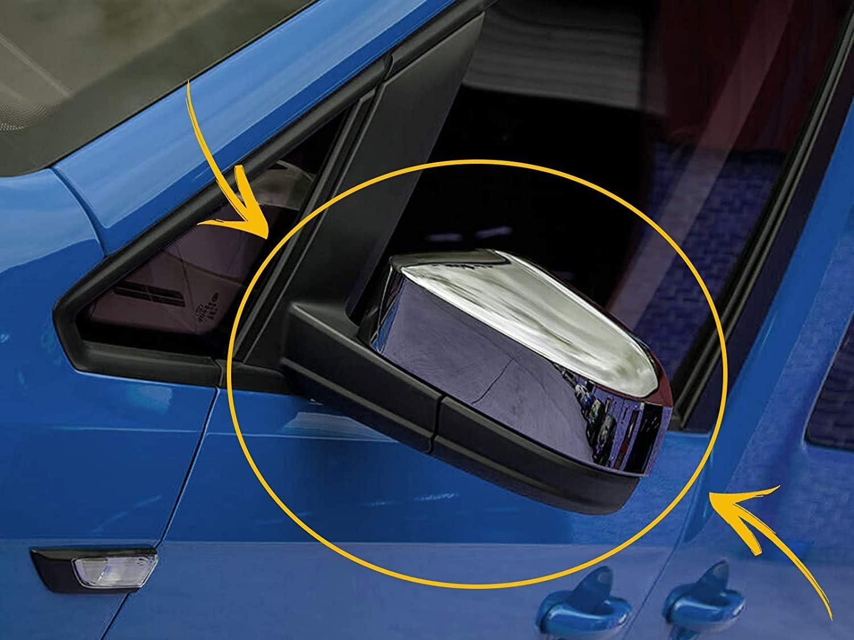 Lot de 2 coques de r/étroviseur gauche et droite en ABS chrom/é pour Caddy MK4 IV 2015 UP