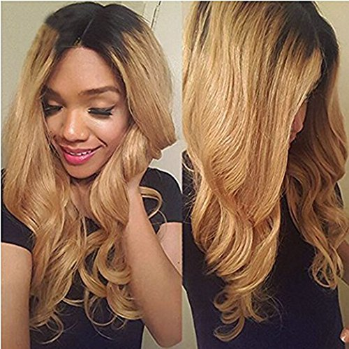 Miss diva Best Brazilian Remy Hair Lace Wig with Baby Hair Body Wave Lace Front Human Hair Wigs 1B/27 Ombre Glueless African American Women's Replacement Hair Wigs 14 (27 Glueless Lace)