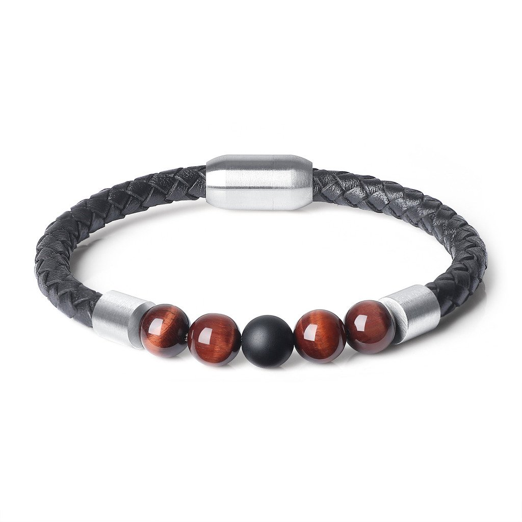 coai Bracelet Cuir Perles Reiki Pierre Onyx Homme