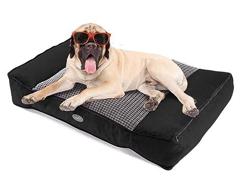 Pecute Camas para Perros Grandes, Colchón Perro Lavable Suave, Almohadas para Camas para Perros 102X69X20cm Gris XL (L, Negro) (L, Negro)