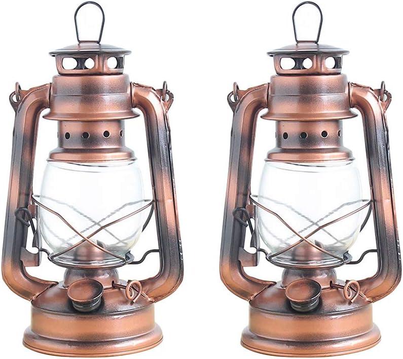 Luz de camping 2 unids Vintage Hierro Portátil Tienda de Campaña de Aceite Lámpara Artesanía Nostálgico Lámpara de Keroseno Cubierta de Cristal Artesanía de Metal Decoración Del Hogar adornos