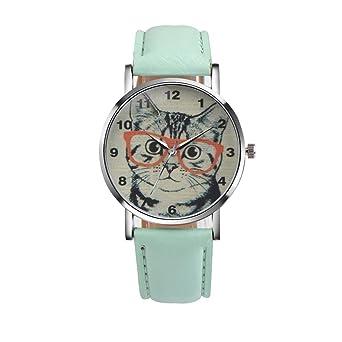 b6471f6e27d90e Tonsee レディース腕時計 PUレザー アナログ表示 可愛い 猫 パターン おしゃれ ウォッチ 女性用 (グリーン