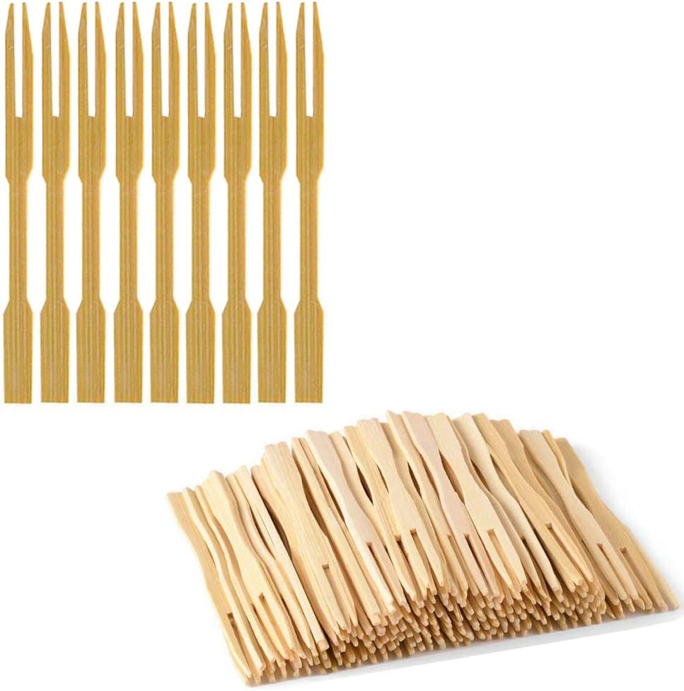 Bamboo Forks 3.5 Inch, Wooden Appetizer Forks Mini Food Picks for Party, Banquet, Buffet, Catering, and Daily Life. (160 PCS)