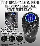 2002 acura rsx shift knob - ICBEAMER Racing 100% Real Carbon Fiber Stick Shift Manual Transmission Shift Knob Replacement [Blue LED Light]
