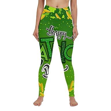 4a9c0f445e348d Anneunique Custom Shamrock Clover High Waisted Leggings Yoga Pants Capri  Running for Women Girls S