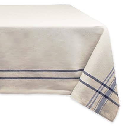"DII 100% Cotton, Machine Washable, Everyday French Stripe Kitchen Tablecloth For Dinner Parties, Summer & Outdoor Picnics - 60x84"" Seats 6 to 8 People, Nautical Blue best rectangular tablecloths"