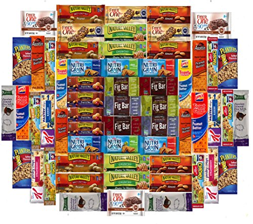 Ultimate Healthy Office Bars, Snacks & Nuts Bulk Variety Pack - Travel Snack Box - Military Care Package (60 Count)