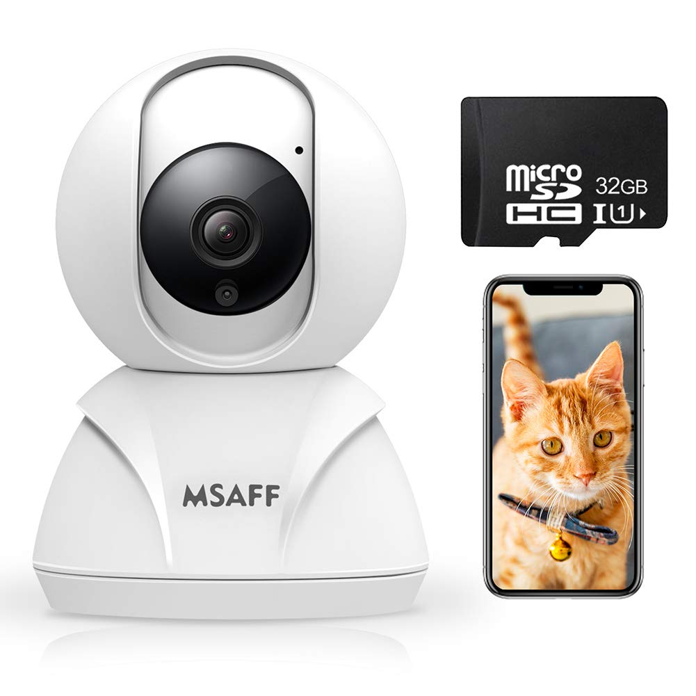 Wireless Security Camera – MSAFF 1080P HD Indoor WiFi Home Cameras with 32GB MicroSD Card, Pan Tilt Zoom Baby Pet Monitor w 2 Way Audio, Night Vision, Motion Detection