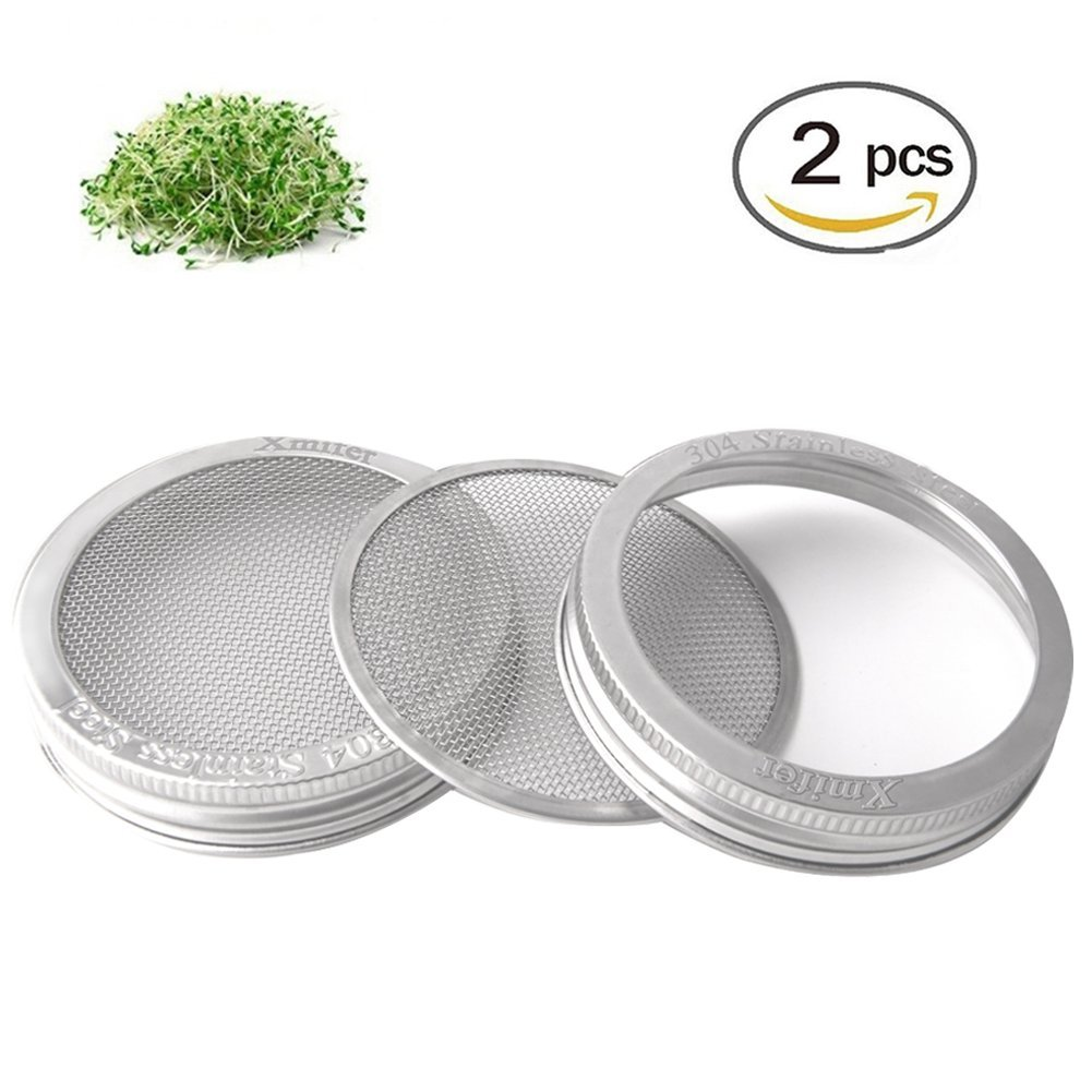 Xmifer Stainless Steel Sprouting Lids for Wide Mouth Mason Jars - Strainer Lid for Canning Jars and Seed Sprouting Screen