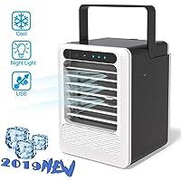 Mini Luftkühler Air Cooler, Sinicyder 3 in 1 Leiser Mobile Klimaanlage Tischventilator mit Griff, Tragbare Klimagerät Ventilator Luftbefeuchter Luftreiniger für Büro, Camping, zu Hause