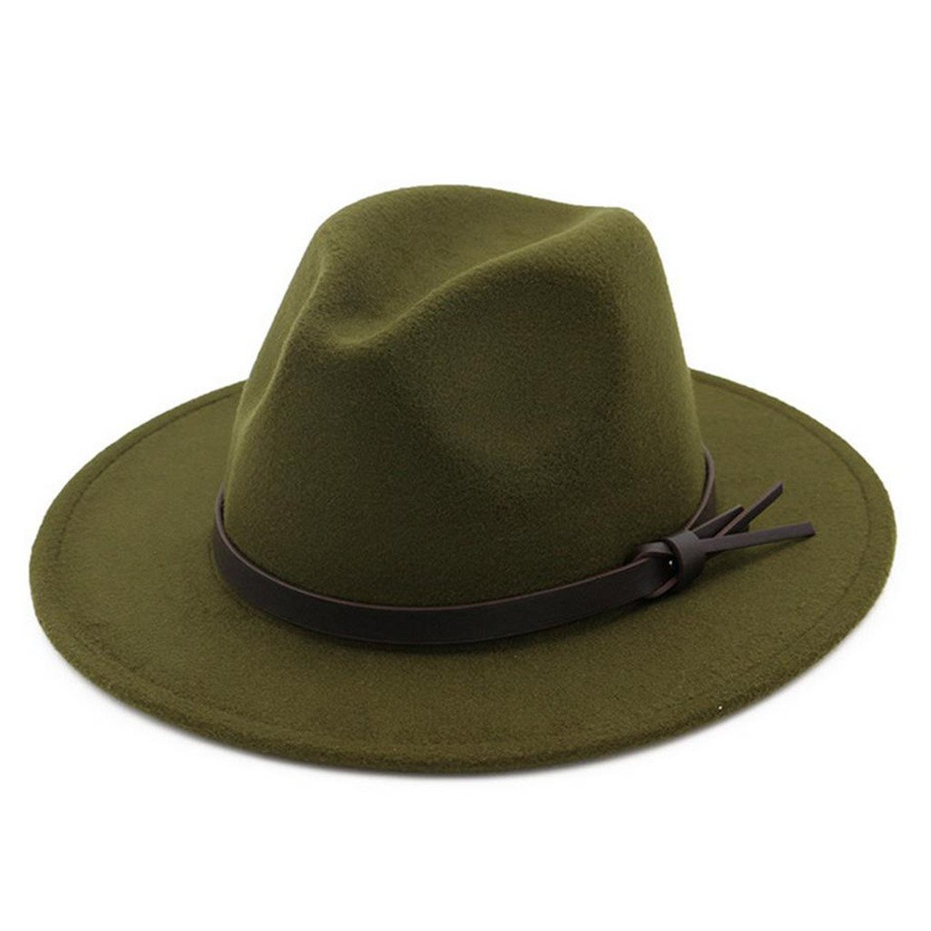 Lisianthus Women Belt Knot Fedora Hat Army-Green