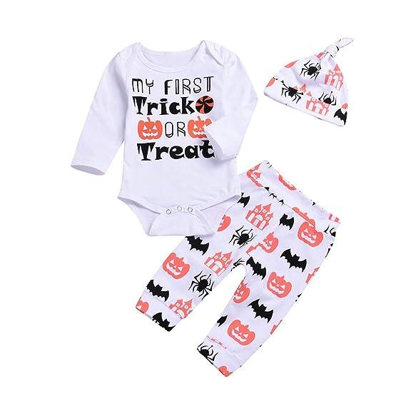 Bestow Baby Letter Halloween Manga Larga 3 Piezas Set Prin Pantalones Cap Halloween Rompe Clothes Ropa para ni?as: Amazon.es: Ropa y accesorios