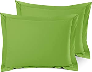 Nestl Bedding Soft Pillow Shams Set of 2 - Double Brushed Microfiber Hypoallergenic Pillow Covers - Hotel Style Premium Bed Pillow Cases, Standard - Garden Green