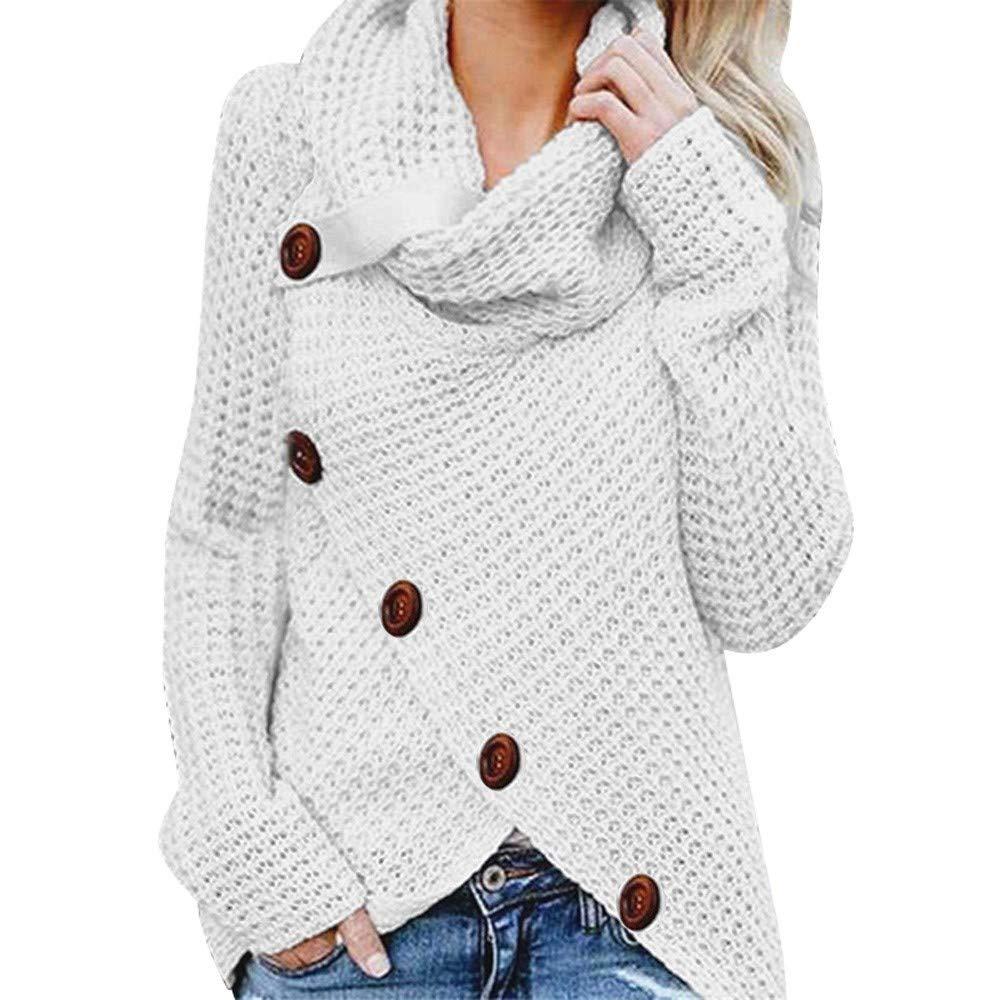 Wtouhe 2019 Chandail Femme Col Haut Manche Longue Sweater Bouton Jumper Tricots Tops Casual Pull Simple Élégant Asymetrique Chic Pullover pour Automne