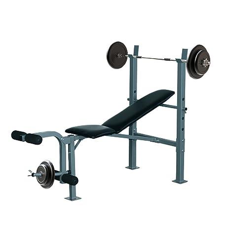 HOMCOM Banco de Musculación Banco de Pesas Maquina de Fitness Entrenar Musculos 165x68x114cm con Respaldo Regulable