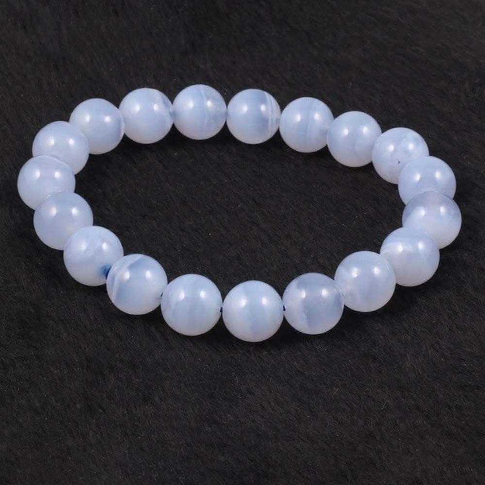ZMMZYY Pulsera Piedra,Natural de Piedras Preciosas Pulseras de Ágata Blanca Cordones con Estilo y Elegante para la Mujer Bangles Joyería 8mm