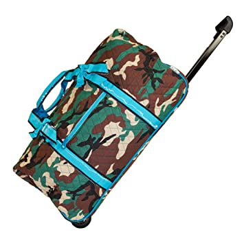 d273db73f44a Ever Moda Camo Quilted Rolling Duffle Bag