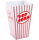 Bekith 48 x Sacchetti di Popcorn - Bianco Rosso A Strisce - Popcorn Box bellissime per cinema sera, Hollywood Party & Co