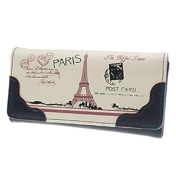 ewfsef Fasion Lady tipo cartera para dinero titular de la tarjeta de Crédito Monedero de la torre Eiffel (negro): Amazon.es: Hogar