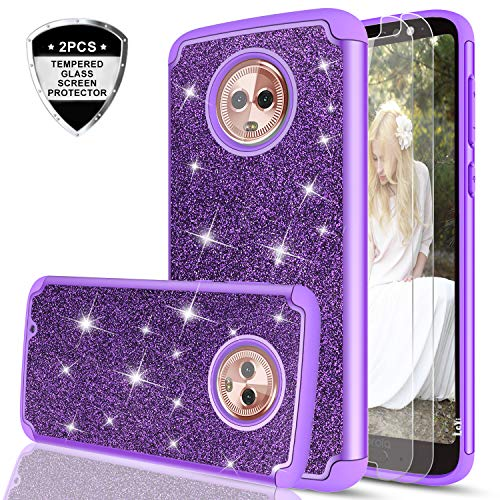 Moto G6 Glitter Case with Tempered Glass Screen Protector [2 Pack] for Girls Women,LeYi Sparkly Bling Dual Layer Hybrid Shockproof Protective Phone Case for Motorola G (6th Generation) TP Purple