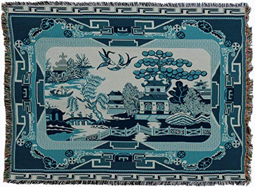 Pure Country Weavers - Willow Blue Tapestry China Throw Blanket with Fringe Cotton USA Size 72 x 54