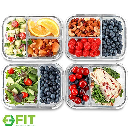 2 & 3 Compartment Glass Meal Prep Containers (4 Pack, 32 oz) - Glass Food Storage Containers with Lids, Airtight Glass Lunch Containers, Glass Bento Boxes for Adults & Kids, Portion Control Containers ()