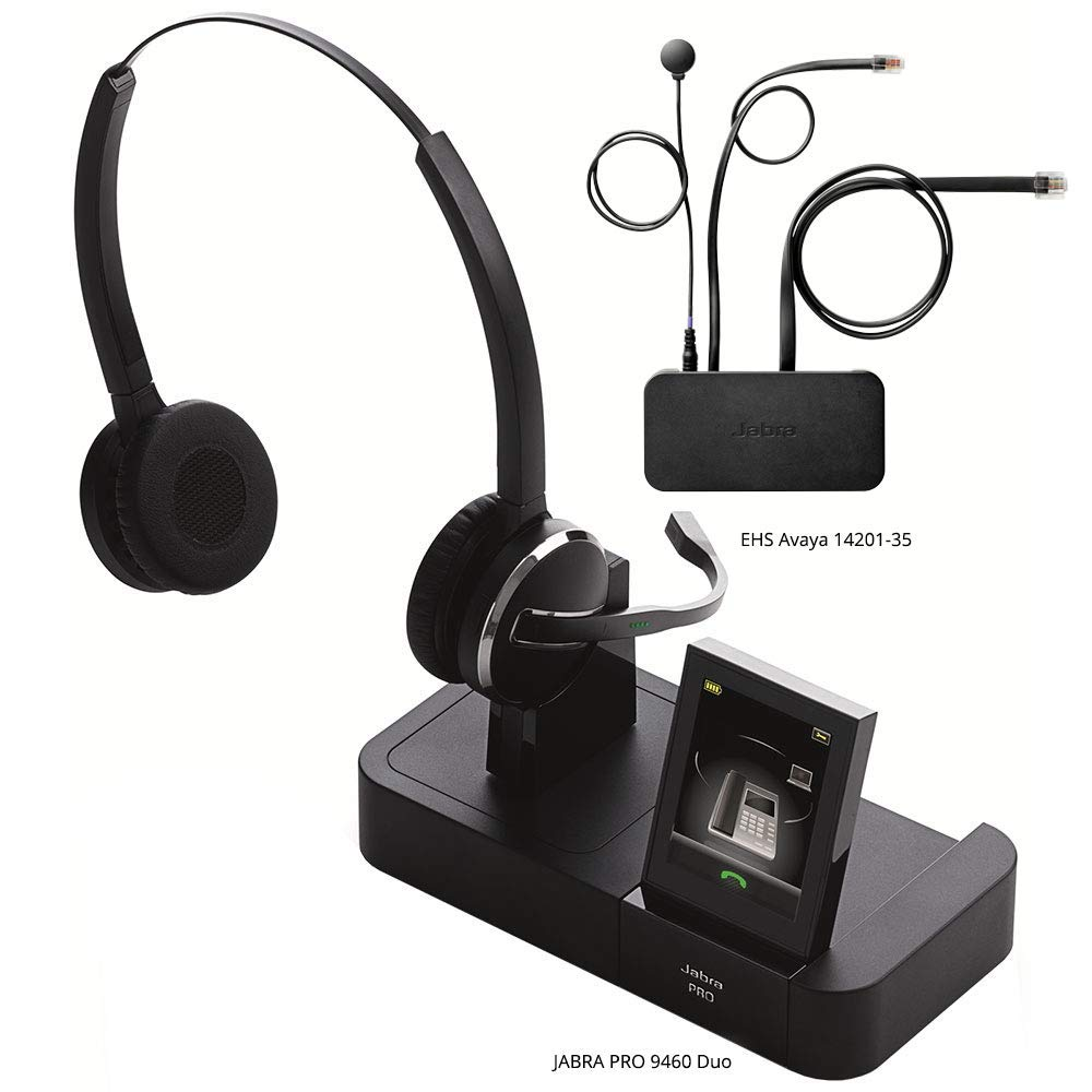 Jabra PRO 9460 Duo Flex Boom Wireless Headset with EHS Avaya 14201-35 Cable, Bundle for Avaya Phones (1600 & 9600 Series)