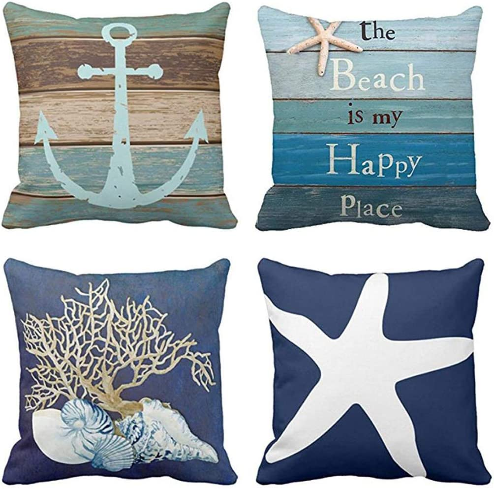 Emvency Set of 4 Throw Pillow Covers Nautical Coastal Beach and Blue Turquoise Anchor Weathered Wood Old Decorative Pillow Cases Home Decor Square 20x20 Inches Pillowcases