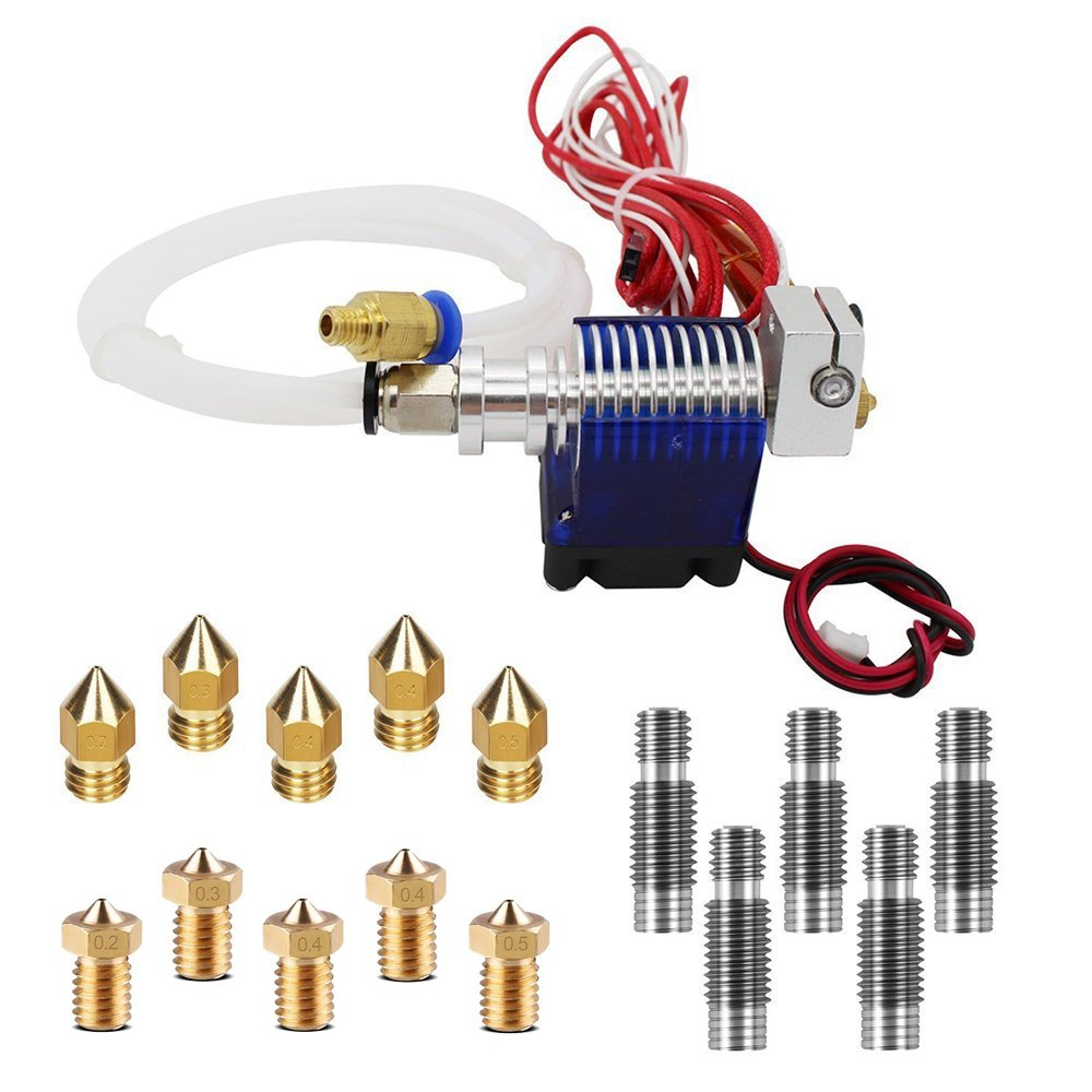 V6 Hot End Full Kit, MYSWEETY 3D Printer J-Head Hotend with Fan + 5 Pcs Extruder Brass Print Head + 5 Pcs Stainless Steel Nozzle Throat for RepRap 3D Printers