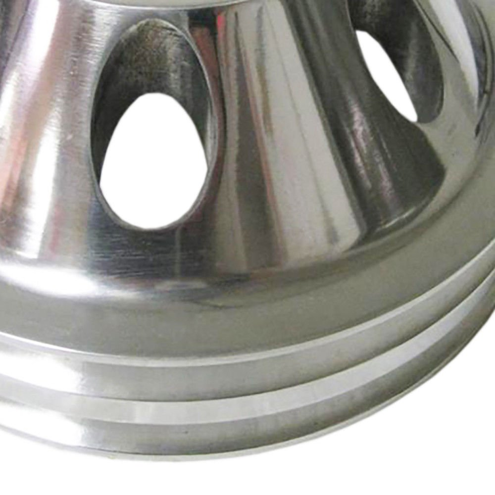 Pulley Set For Chevy SBC LWP Double/Triple Groove Polished Aluminum by DEMOTOR (Image #7)